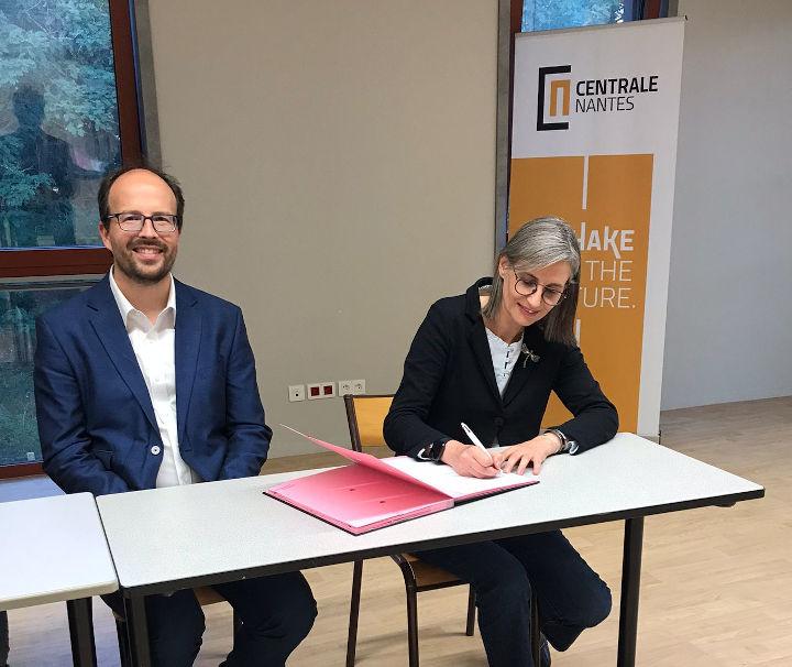 Jean-Baptiste Avrillier, directeur de Centrale Nantes, et Carine Bernault, présidente de l'université de Nantes