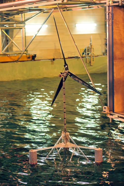 Éolienne test dans un bassin